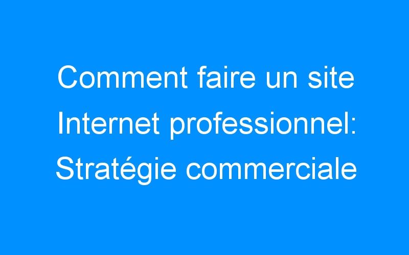 Comment faire un site Internet professionnel: Stratégie commerciale
