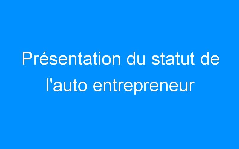 Présentation du statut de l'auto entrepreneur